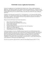 "SD Form 0500LD ""Application for a Well Driller License"" - South Dakota"