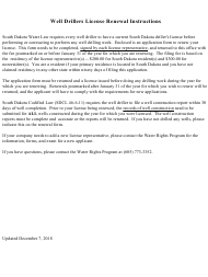 """SD Form 1586LD """"Application to Renew a Well Driller License"""" - South Dakota"""
