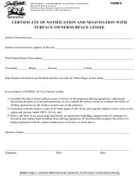 """Form 9 """"Certificate of Notification and Negotiation With Surface Owner/Surface Lessee"""" - South Dakota"""