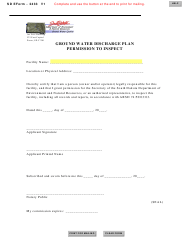 """SD Form 2433 """"Ground Water Discharge Plan Permission to Inspect"""" - South Dakota"""
