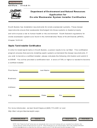 """SD Form 2111LD """"Application for on-Site Wastewater System Installer Certification"""" - South Dakota"""