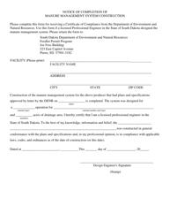 """Notice of Completion of Manure Management System Construction"" - South Dakota"