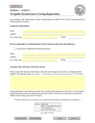 "SD Form 1312LD ""Navigable Stream Fence Crossing Registration"" - South Dakota"
