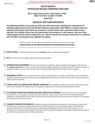 "SD Form 0252 ""Petroleum Release Compensation Fund Checklist for Fund Applicants"" - South Dakota"