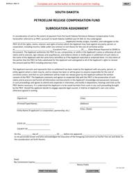 """SD Form 0256 """"Petroleum Release Compensation Fund Subrogation Assignment"""" - South Dakota"""