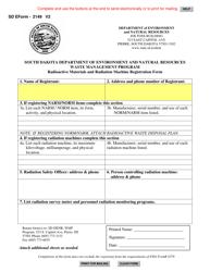 "SD Form 2149 ""Radioactive Materials and Radiation Machine Registration Form"" - South Dakota"
