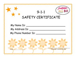 """""""9-1-1 Safety Certificate"""" - South Dakota"""