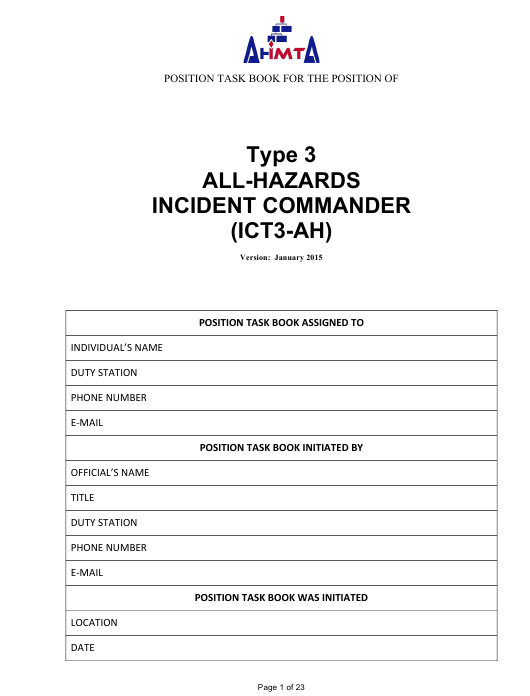 """Position Task Book for the Position of Type 3 All-hazards Incident Commander (Ict3-ah)"" - Colorado Download Pdf"