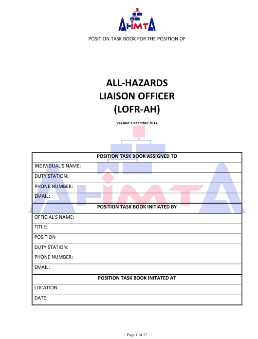 """Position Task Book for the Position of All-hazards Liaison Officer (Lofr-Ah)"" - Colorado Download Pdf"