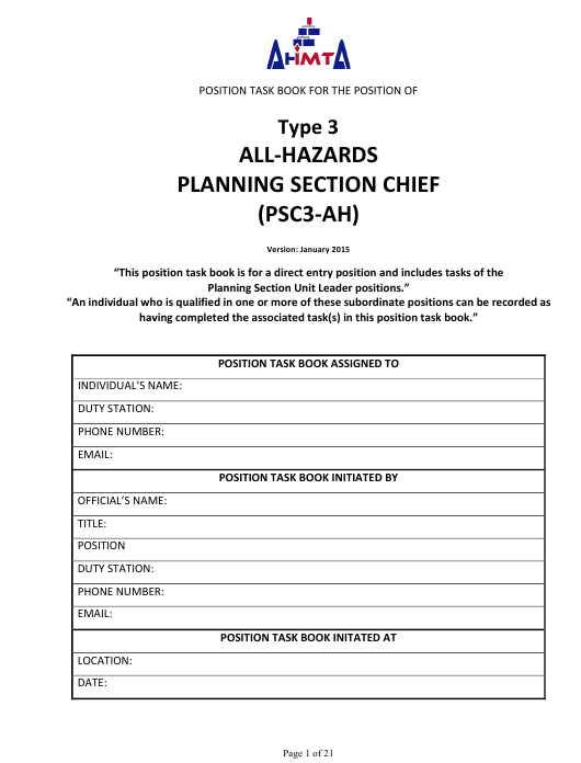 """""""Position Task Book for the Position of Type 3 All-hazards Planning Section Chief (Psc3-ah)"""" - Colorado Download Pdf"""