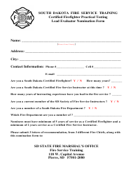 """Certified Firefighter Practical Testing Lead Evaluator Nomination Form"" - South Dakota"
