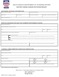 "SDDVA Form 3 ""Military Funeral Honors $50 Stipend Request"" - South Dakota"