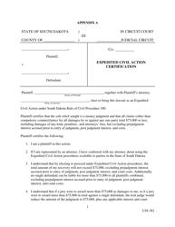 "Form UJS-381 Appendix A ""Expedited Civil Action Certification"" - South Dakota"