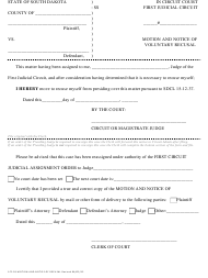 """Form 1CF-05 """"Motion and Notice of Voluntary Recusal"""" - South Dakota"""