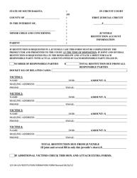 "Form 1CF-04 ""Juvenile Restitution Account Information"" - South Dakota"