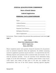 """Judicial Application Personal Data Questionnaire"" - South Dakota"