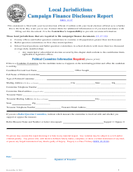 """Local Jurisdictions Campaign Finance Disclosure Report Form"" - South Dakota"