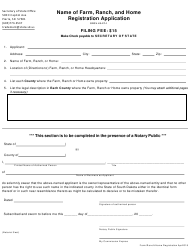 """""""Name of Farm, Ranch, and Home Registration Application Form"""" - South Dakota"""