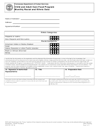 "Form HS-3191 ""Child and Adult Care Food Program Monthly Racial and Ethnic Data"" - Tennessee"