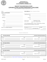 "Form DIDD-0497 ""Request for Inspection of New Supported Living and Semi-independent Living Home"" - Tennessee"