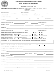 "Form SF-0395 ""Owner / Driver Report"" - Tennessee"