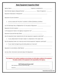 """Basic Equipment Inspection Sheet"" - Tennessee"
