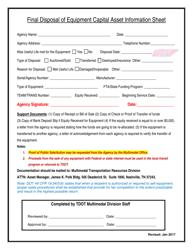 """""""Final Disposal of Equipment Capital Asset Information Sheet"""" - Tennessee"""