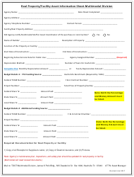 """""""Real Property/Facility Asset Information Sheet-multimodal Division"""" - Tennessee"""