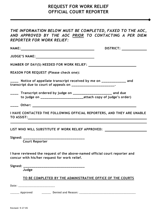 """Request for Work Relief Official Court Reporter"" - Tennessee Download Pdf"