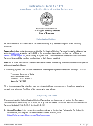 """Form SS-4471 """"Amendment to the Certificate of Limited Partnership"""" - Tennessee"""
