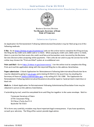 """Form SS-9410 """"Application for Reinstatement Following Administrative Dissolution/Revocation"""" - Tennessee"""