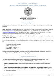 """Form SS-4473 """"Application for Registration of Foreign Limited Partnership"""" - Tennessee"""
