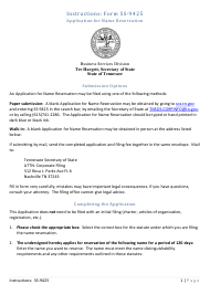 """Form SS-9425 """"Application for Name Reservation"""" - Tennessee"""
