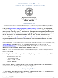 """Form SS-4472 """"Certificate of Cancellation of Limited Partnership"""" - Tennessee"""