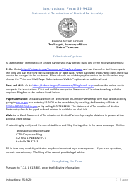"""Form SS-9420 """"Statement of Termination of Limited Partnership"""" - Tennessee"""