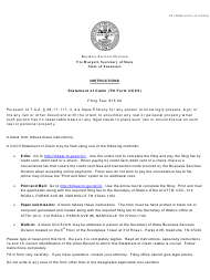 """Form UCC5 """"Statement of Claim"""" - Tennessee"""