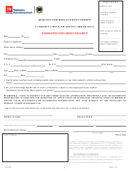 "Form AB-0201 ""Request for Replacement Permit"" - Tennessee"