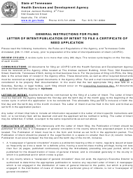 "Form HF51 ""Letter of Intent"" - Tennessee"