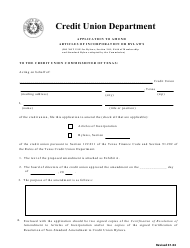 """""""Application to Amend Articles of Incorporation or Bylaws"""" - Texas"""