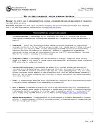 "Form C-105-0250C ""Volunteer Transportation Acknowledgment"" - Texas"
