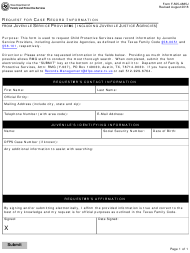 """Form F-505-4885J """"Request for Case Record Information From Juvenile Service Providers (Including Juvenile Justice Agencies)"""" - Texas"""