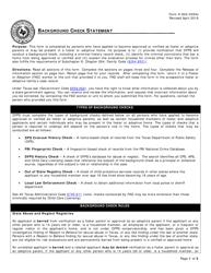"Form K-902-4054C ""Background Check Statement"" - Texas"