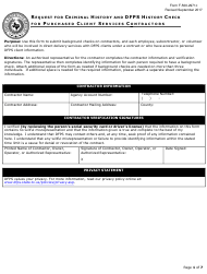 """Form F-500-2971C """"Request for Criminal History and Dfps History Check for Purchased Client Services Contractors"""" - Texas"""
