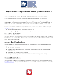 """Request for Exemption From Texas.gov Infrastructure"" - Texas"