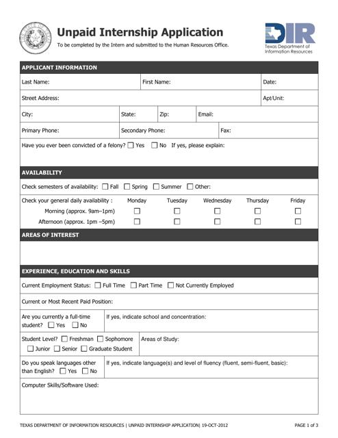 """Unpaid Internship Application Form"" - Texas Download Pdf"