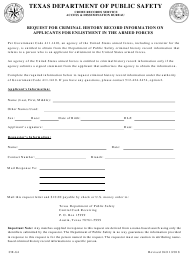 "Form CR-64 ""Request for Criminal History Record Information on Applicants for Enlistment in the Armed Forces"" - Texas"