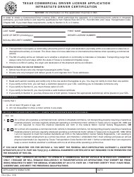 "Form CDL-5 ""Texas Commercial Driver License Application Intrastate Driver Certification"" - Texas"