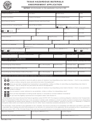 "Form CDL-6 ""Texas Hazardous Materials Endorsement Application"" - Texas"