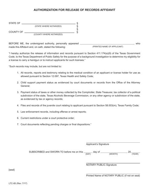 Form LTC-85  Printable Pdf