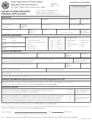 "Form LTC-91 ""Online Course Provider Original Application"" - Texas"